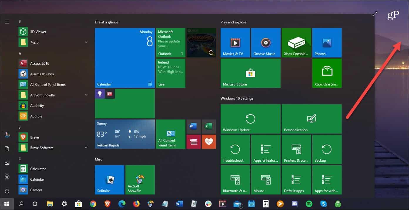 resize Windows 10 start menu