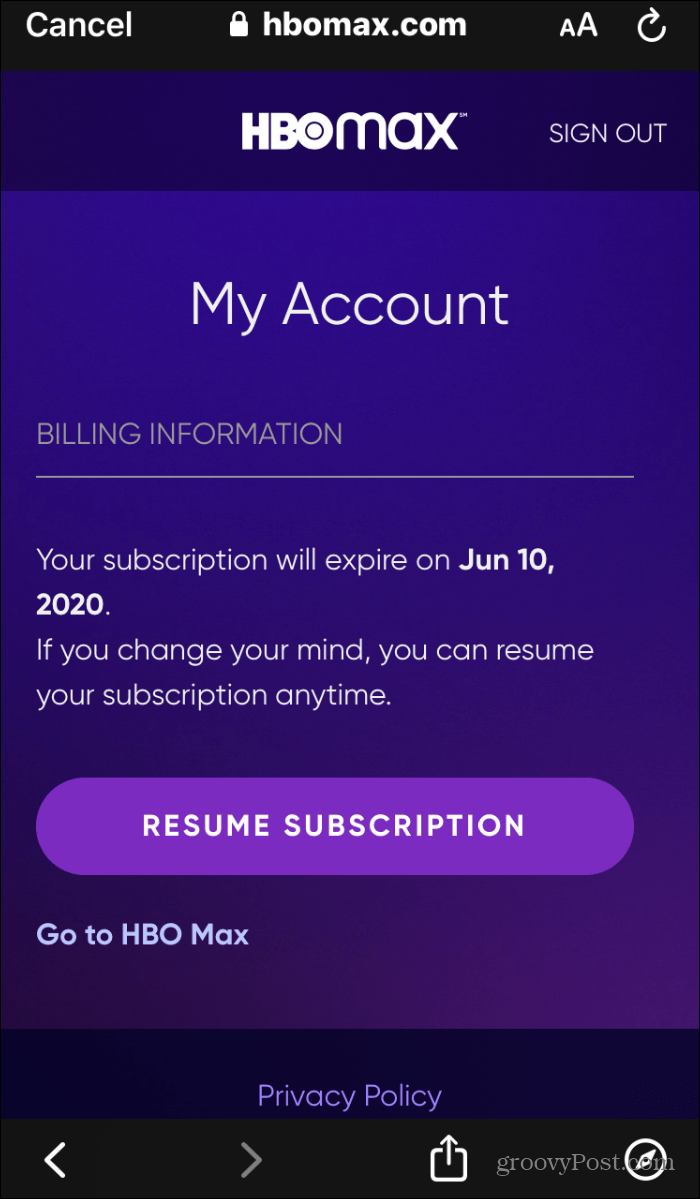 resume hbo max subscription