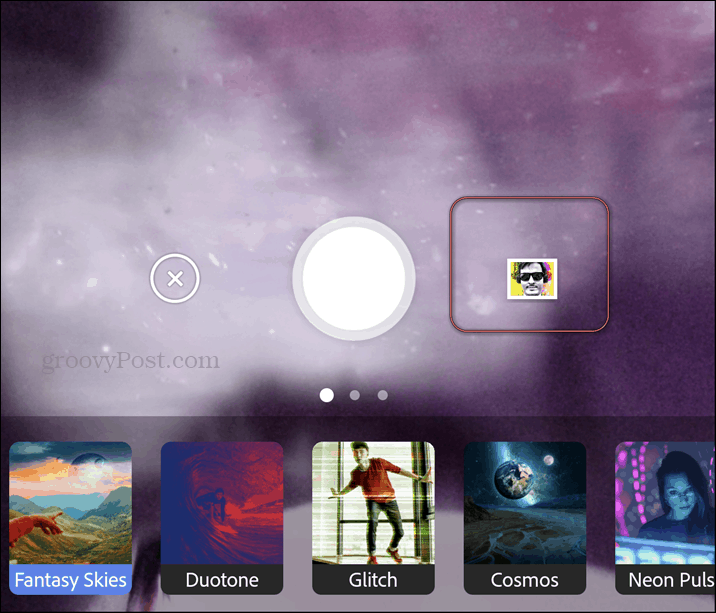 Adobe Photoshop Camera gallery open