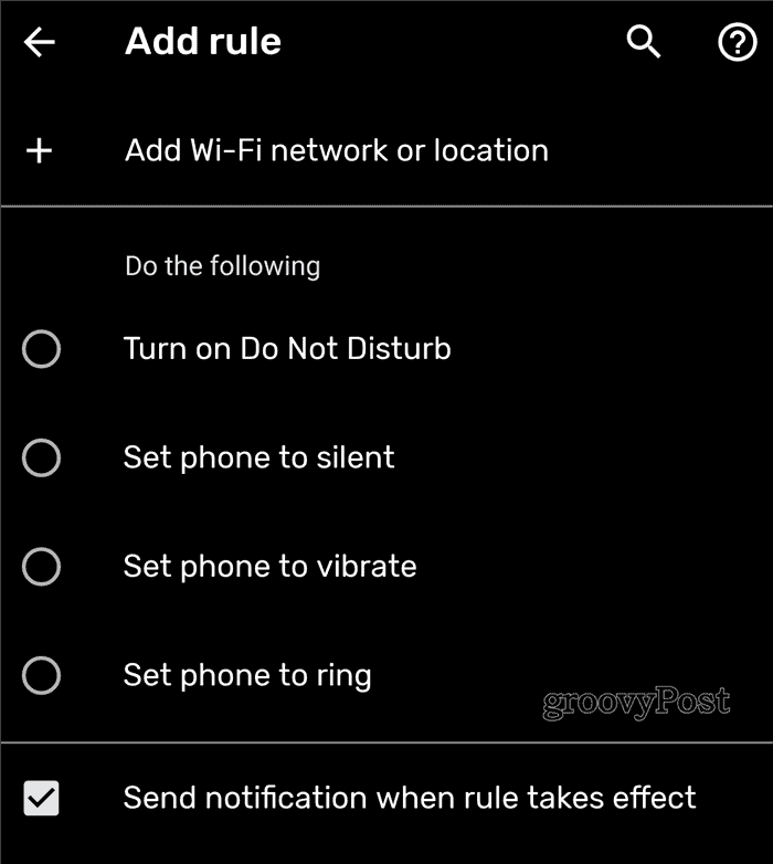 Android Rules Add rule