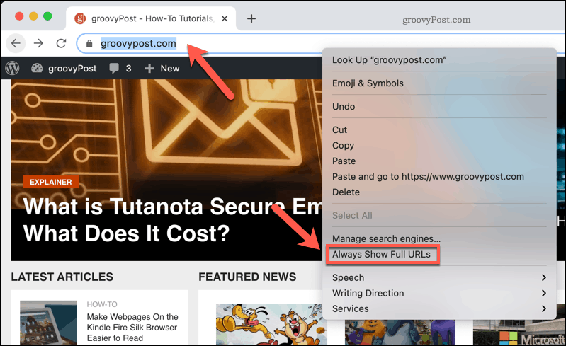 To show a full URL in Chrome, right-click the address bar and press Always Show Full URLs.