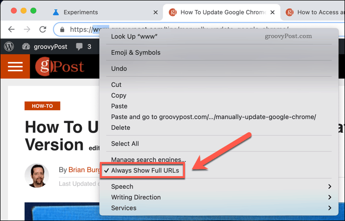 Uncheck the Always Show Full URLs feature in Google Chrome