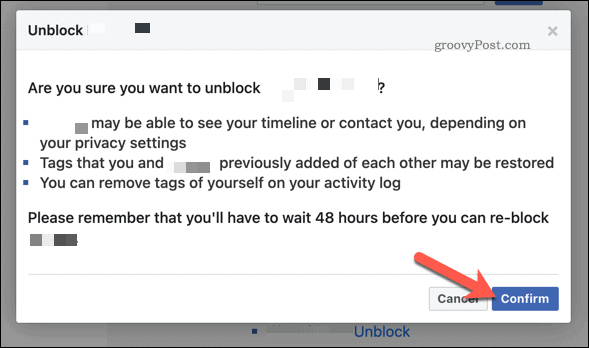 Confirm you wish to unblock the user on Facebook by pressing Confirm.