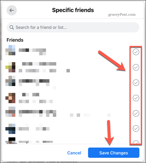 Select the friends you wish to add to your post, then press Save Changes.