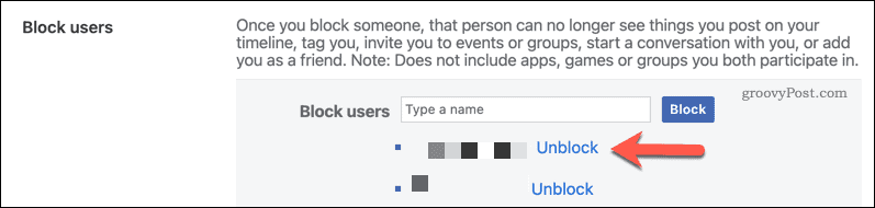 "Press ""Unblock"" to unblock a Facebook user."