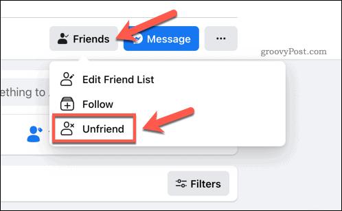 Press Friends > Unfriend to remove a Facebook friend.