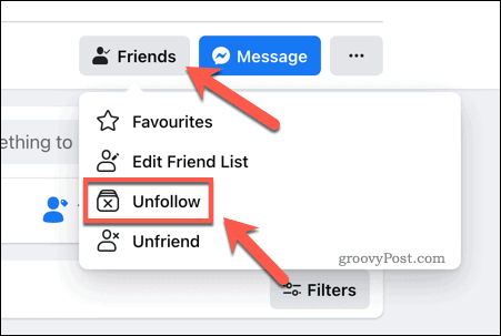 Press Friends > Unfollow to stop following a Facebook friend.