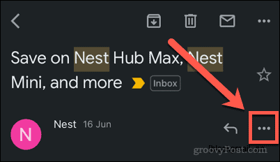 Three-dots menu icon in the Gmail app
