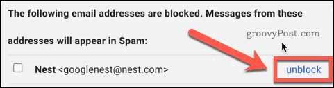 Unblock a user in Gmail settings