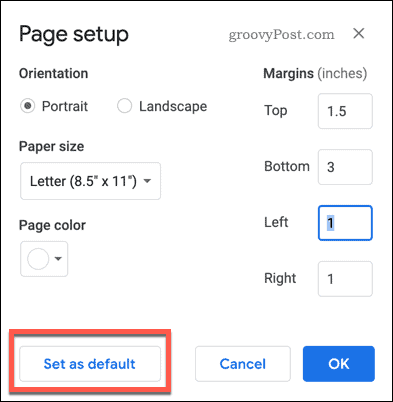 The Page Setup set as default button in Google Docs