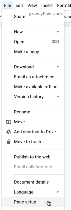 Changing page settings in Google Docs