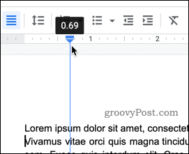 Moving the left margin in Google Docs