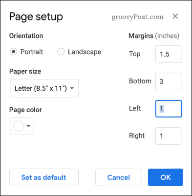 Page setup in Google Docs