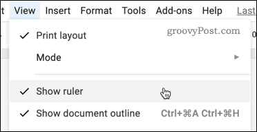 Showing the ruler in Google Docs