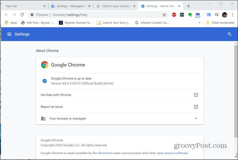 google chrome updated