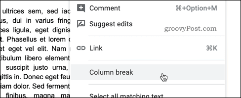 Inserting a column break in Google Docs