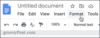 The Format menu in Google Docs
