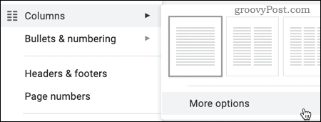 The More Options option for columns in Google Docs