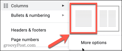 The Single Column option in Google Docs