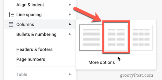 The Two Columns option in Google Docs