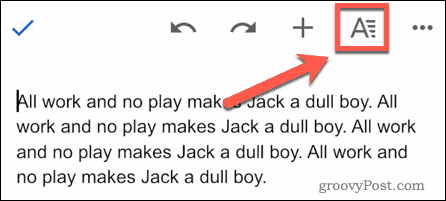 The A icon in Google Docs