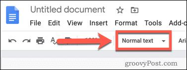 Formatting text in Google Docs
