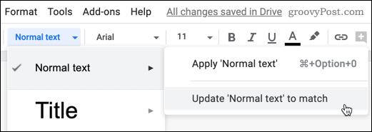 Updating a formatting default option in Google Docs