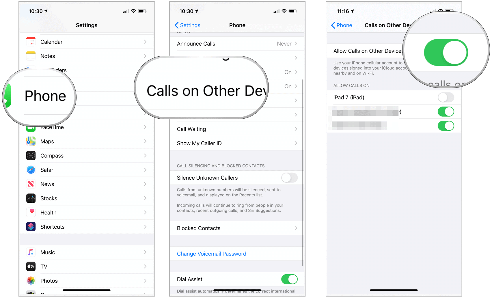 iPhone set calls on other devices