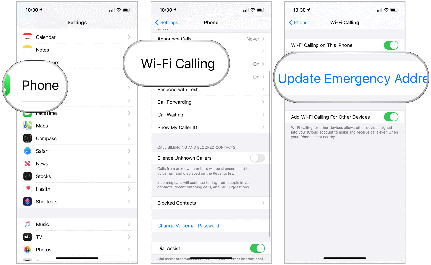 iPhone update emergency address information