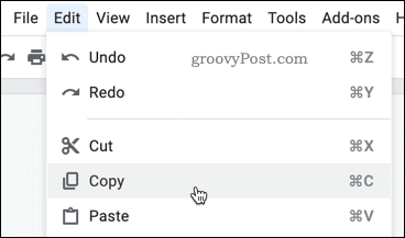 Copying text in Google Docs