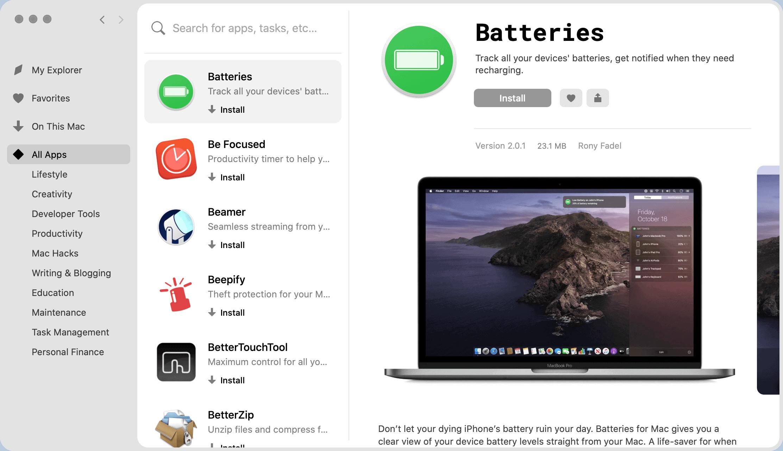 Setapp Batteries app