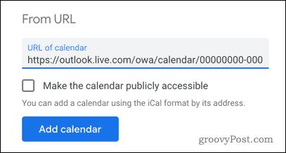 Adding an Outlook calendar to Google Calendar by URL