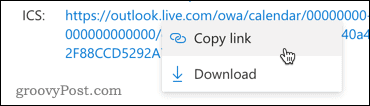 Copying the link to an Outlook calendar