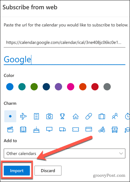 Importing a Google Calendar in Outlook