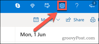 Settings icon in Outlook