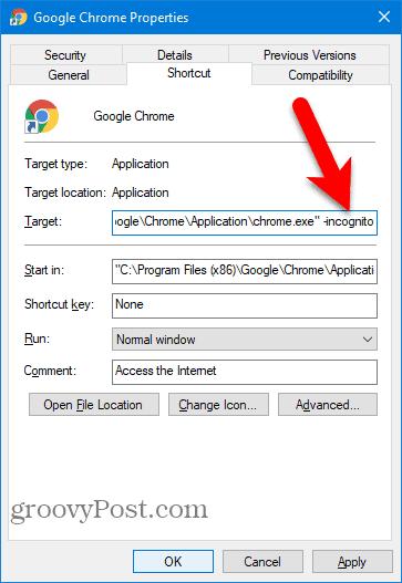 Add -incognito to Chrome Desktop shortcut