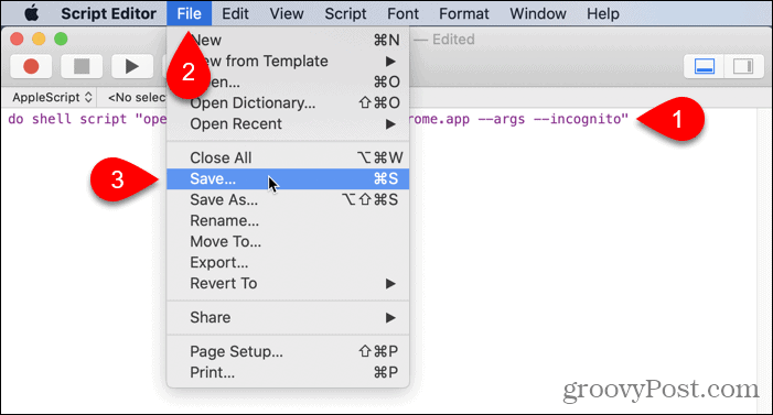 Go to File > Save in Script Editor on Mac