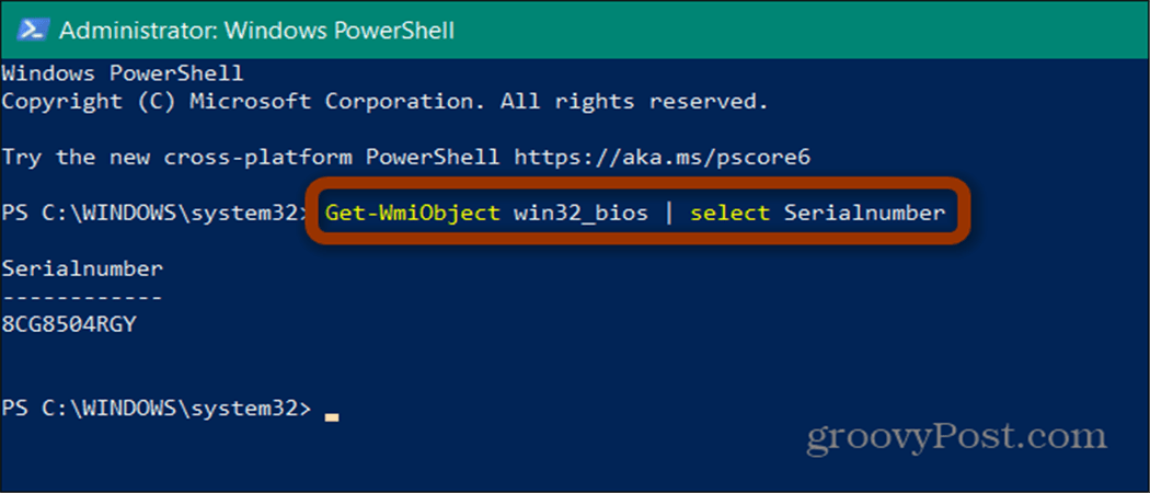 powershell serial number