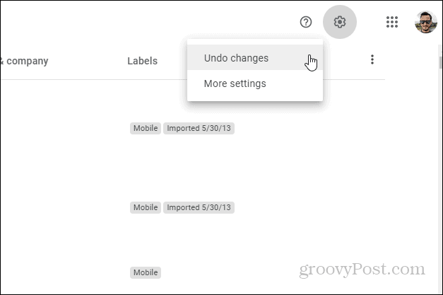 Google Contacts Undo changes