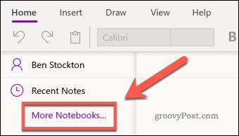 OneNote More Notebooks menu icon
