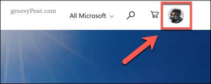 Xbox Website user account icon