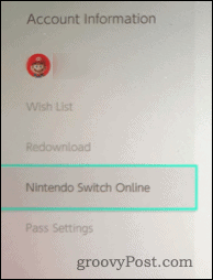Nintendo Switch Account Information