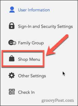 Nintendo Online Shop Menu Button