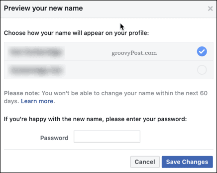 Confirming a Facebook name change