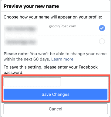 Confirming a Facebook name change in the mobile app