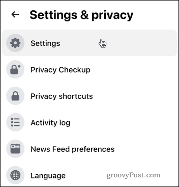 Facebook Settings & Privacy area