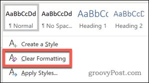 Clear Formatting styles option in Word