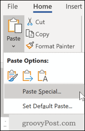 Word Paste Special option