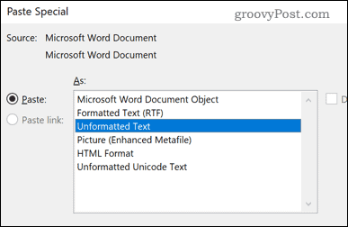 Word Unformatted Text paste option