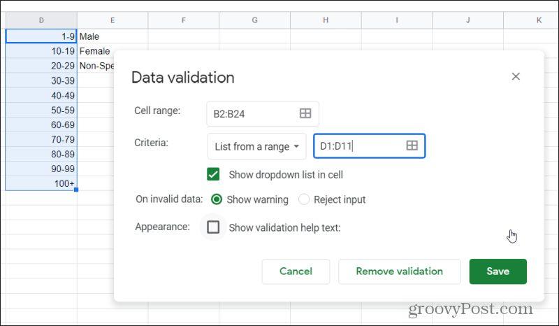 data validation window in Google Sheets